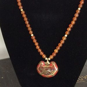Jewelry - Vintage Amber Beads and Cloisonné Pendant